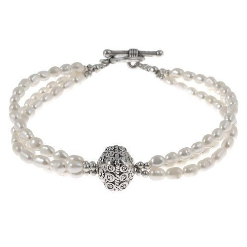 EXP Handmade Multistrand White Pearl Bracelet With Antiqued Silver Beads EXP. $14.99