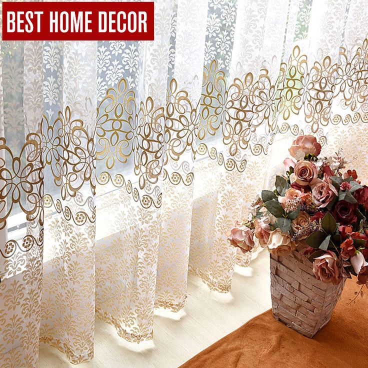 BHD floral sheer tulle window curtains for living room the bedroom modern tulle curtains for window curtain fabric blinds drapes -- Want additional info? Click on the image.