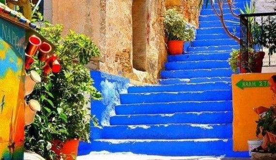 Colorful alley on Symi island  www.callgreece.gr