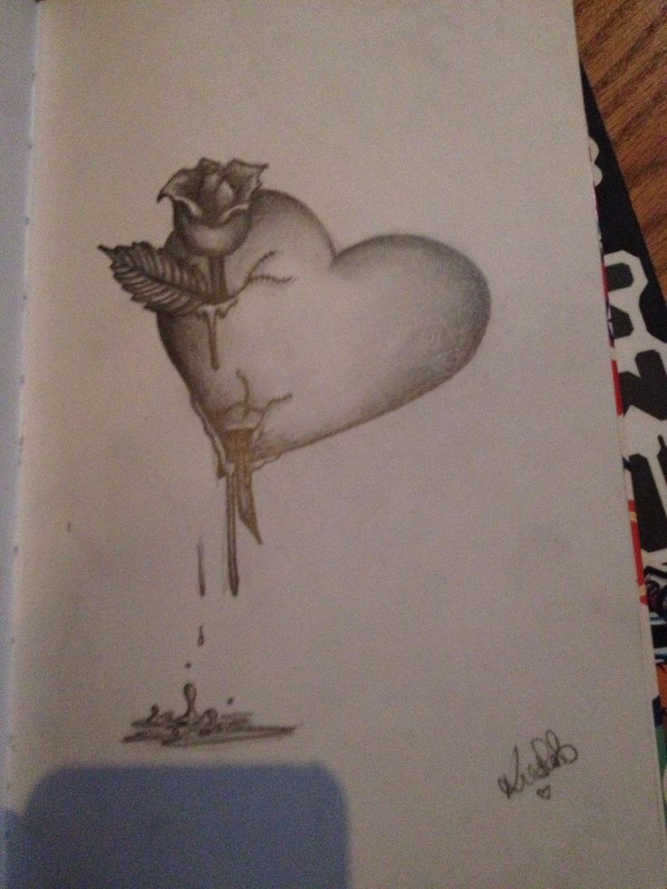 rose stabbed heart drawing my art stuff in 2019