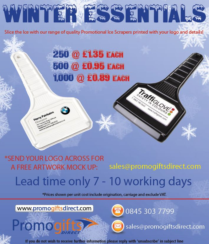 Today has to be the coldest day of the year so far! Be prepared for the winter weather with our Full Colour printed Ice Scrapers!  Contact us to order!  sales@promogiftsdirect.com