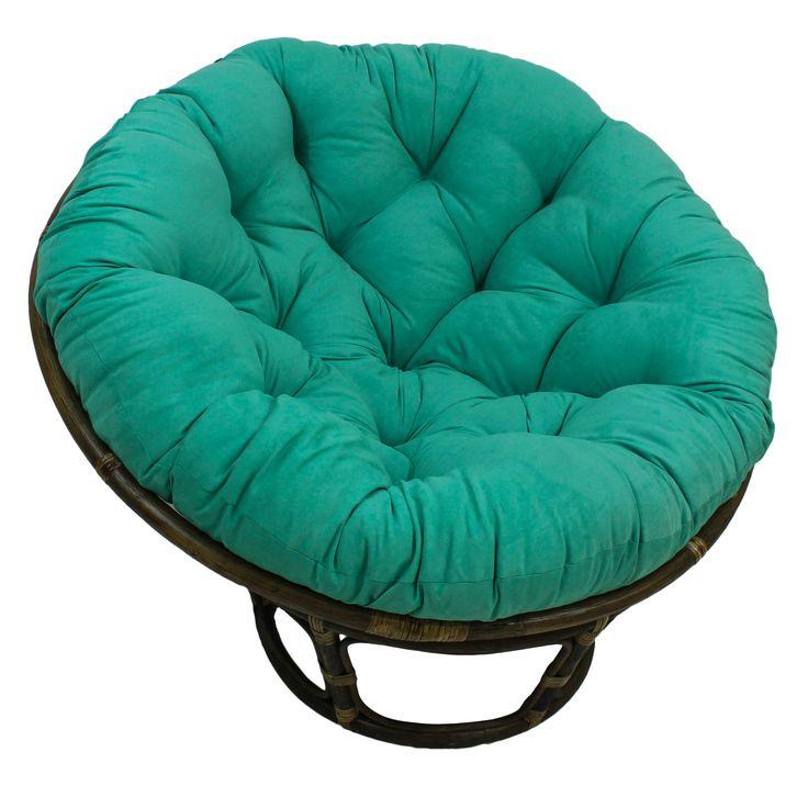 International Caravan Rattan 42-Inch Papasan Chair with Micro Suede Cushion
