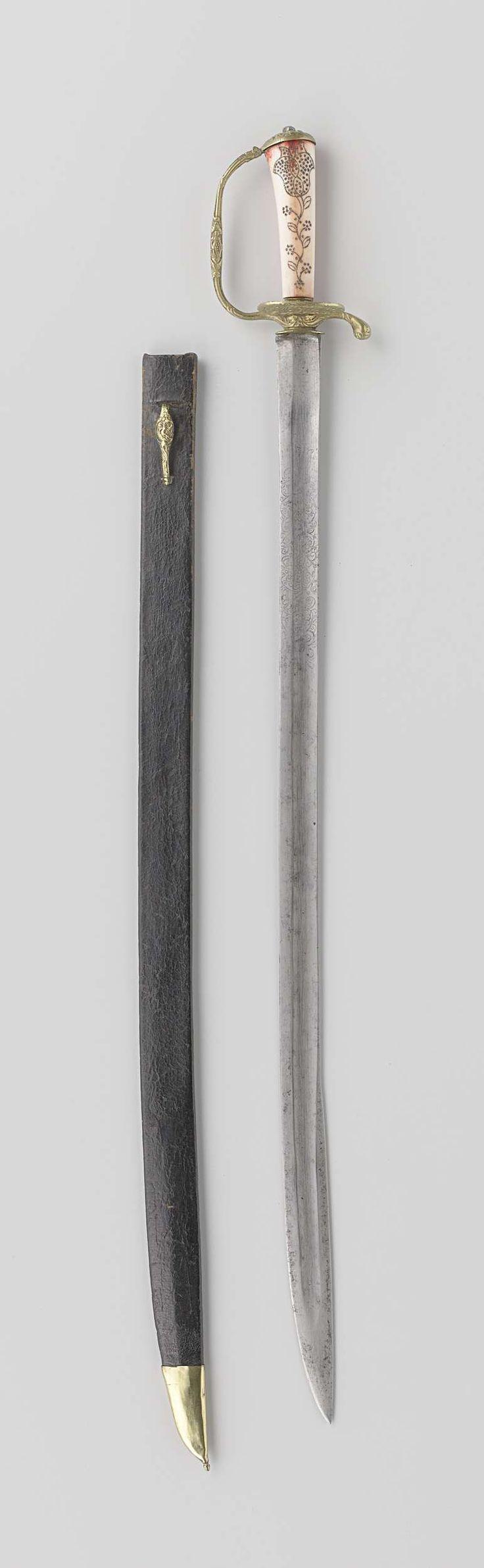 Houwer met schede volgens overlevering toebehoord hebbende aan M. A. de Ruyter, anoniem, ca. 1600 - ca. 1800