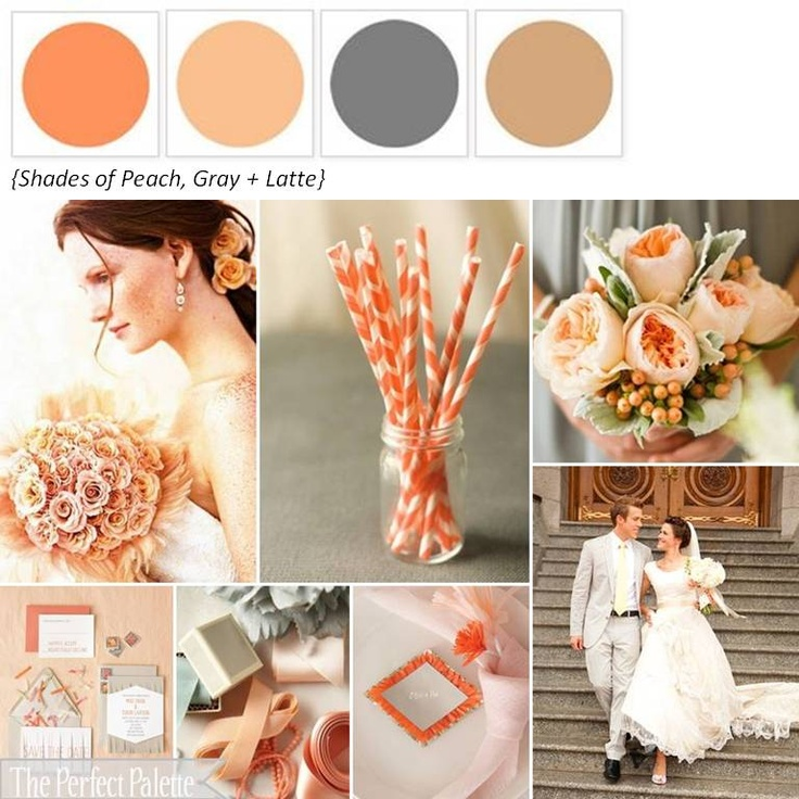 Shades of Peach, Gray + Latte ☛ ow.ly/9cq9tIdeas, Color Palettes, Perfect Palettes, Colors Stories, Colors Palettes, Colors Schemes, Grey, Accent Colors, Peaches