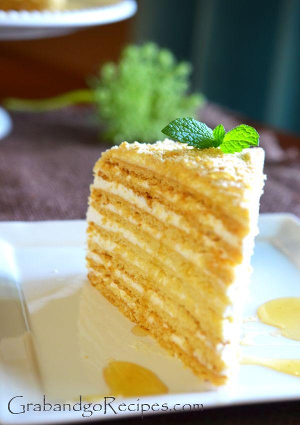 Medovik Russian Honey Cake #Russian_recipes #Russian_desserts