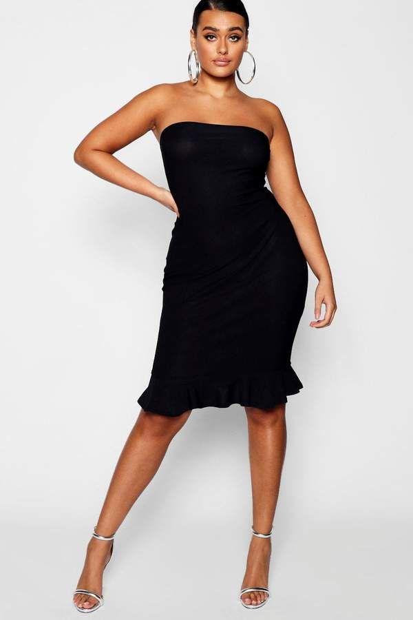 be93e731f129 boohoo Plus Bandeau Ruffle Hem Midi Dress #shopping #fashion #style ...