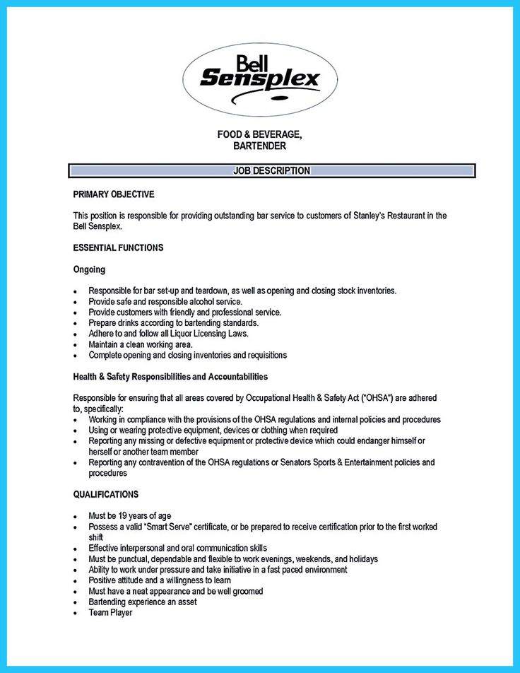 Internet offers various bartender resume template and samples that - bar tender resume