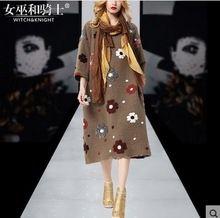 Новые Моды для Женщин Осень Платье 2016 Взлетно-Посадочной Полосы Европейской Дизайнер Винтаж партия стиль одежды(China (Mainland))