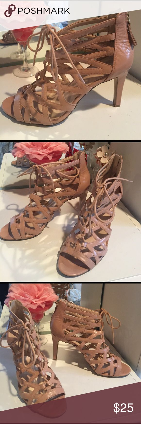 "NINEWEST CUTOUT DRESS HEELS So amazing with everything! Nude zip up back cut out heels by NINEWEST. Front lace up and tie. 4"" heel. Size 8.5M Nine West Shoes Heels"