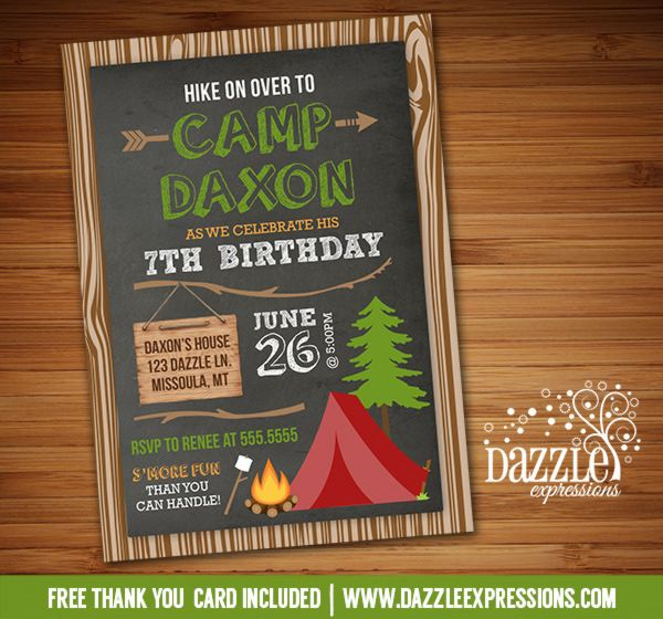 printable rustic chalkboard camping birthday invitation