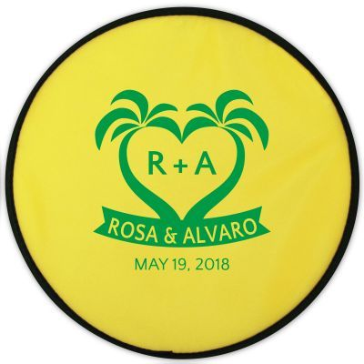 Personalized Flexible Flying Disc With Matching Pouch customized for beach and tropical weddings or parties #beachfrontoccasions #beachfavor #beachfavors #beachpartyfavors