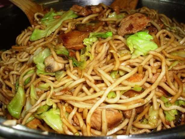 There are lots of chow mein recipes out there, but this is how I like to make it.  It reminds me of fast food chow mein, but its not nearly as greasy.  I call for chicken here, but use whatever protein you like- or none at all!