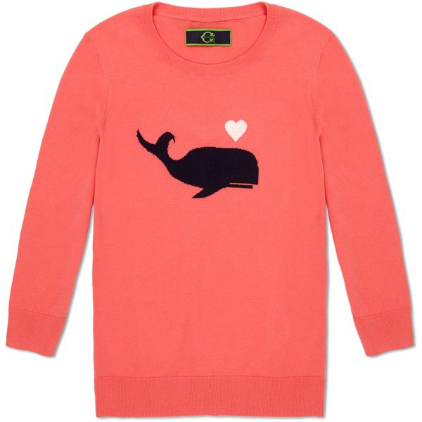 C. Wonder Whale of a Tale Intarsia Sweater ❤ liked on Polyvore featuring tops, sweaters, shirts, coral multi, holiday sweaters, red shirt, beach sweater, ribbed shirt and layering shirts