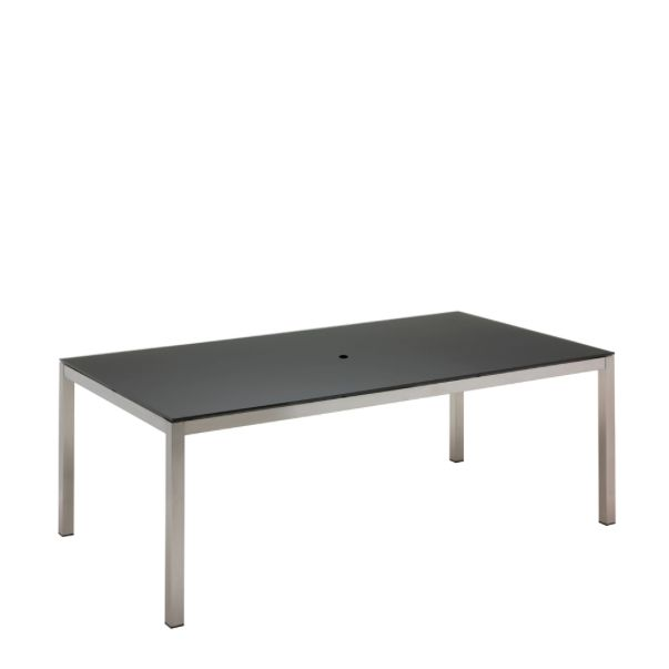 Kore Small Rectangular Dining Table Electropolished Frame / Black HPL Top