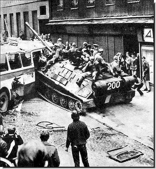 Soviet Tank rams a barricade Prague 1968