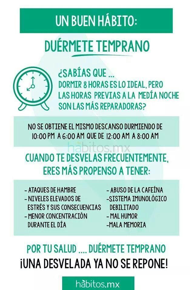 Un buen hábito: dormirse temprano http://www.pinterest.com/monicalalala/nutrici%C3%B3n-y-salud/