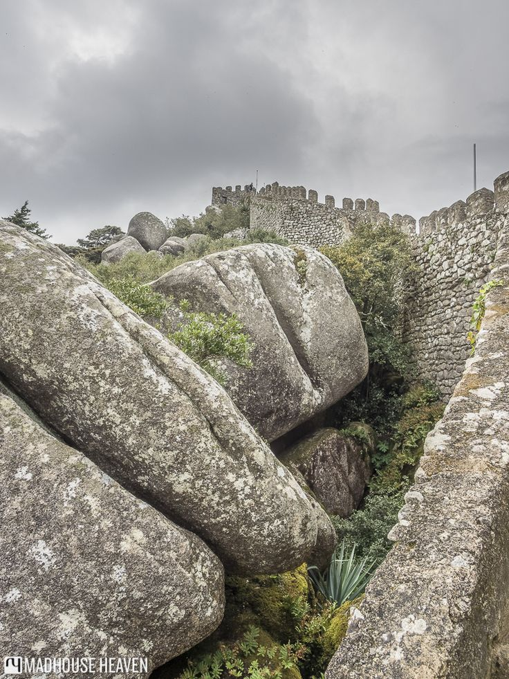 Boulders stacked up against the Southern walls of the Moorish Castle, SIntra Portugal.