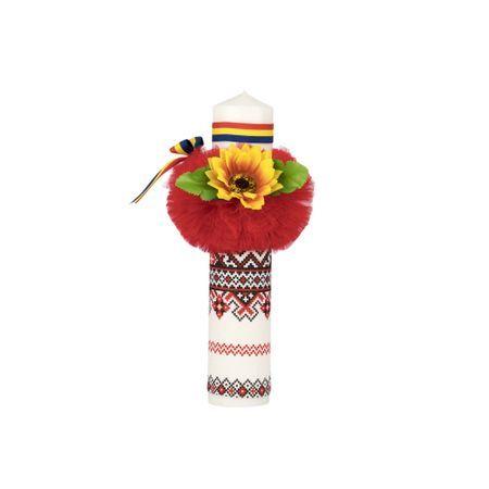Lumanare Botez Cu Motive Traditionale Culoare Rosie Cu Tricolor Si