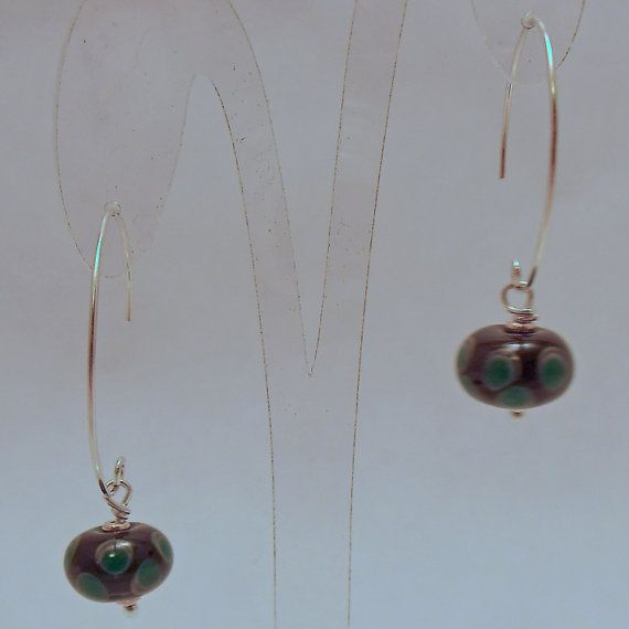 Green Spotted Glass and Sterling Silver Earrings by ALittleTrinket, £14.00