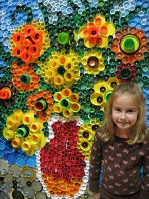 bottle top sunflower art - vincent van gogh