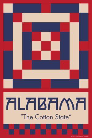 ALABAMA quilt block.  Ready to sew. Single 4x6 block $4.95.