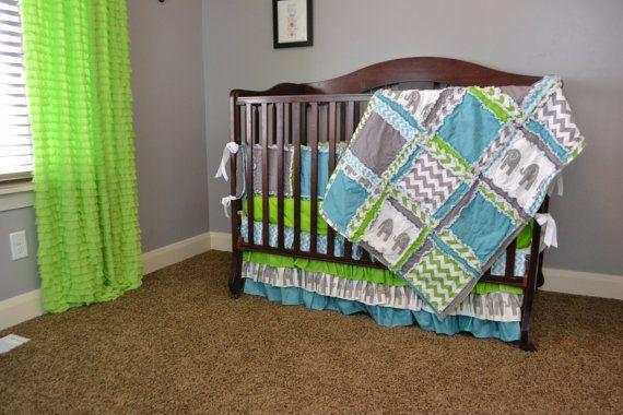 Custom Crib Set Lime Green Gray Blue with par avisiontoremember