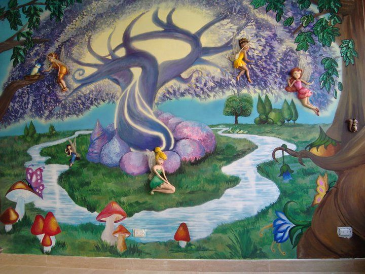 Mural de tinker bell para cuarto de ni a murales for Murales infantiles nina