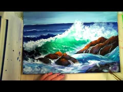 "How to Paint a ""Translucent Ocean Wave on the Rocks"" Part 1 - Ginger Cook's Master Class Painting - YouTube"