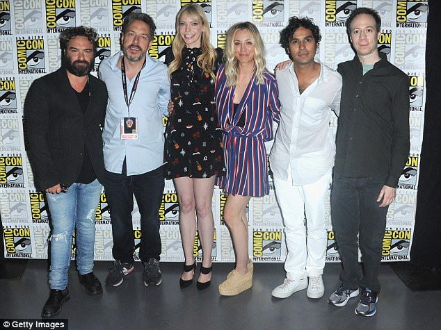 Strike a pose:L-R) Actor Johnny Galecki, moderators John Ross Bowie, Riki Lindhome, actors Kaley Cuoco, Kunal Nayyar, and Kevin Sussman from Big Bang Theory on Friday at Comic Con