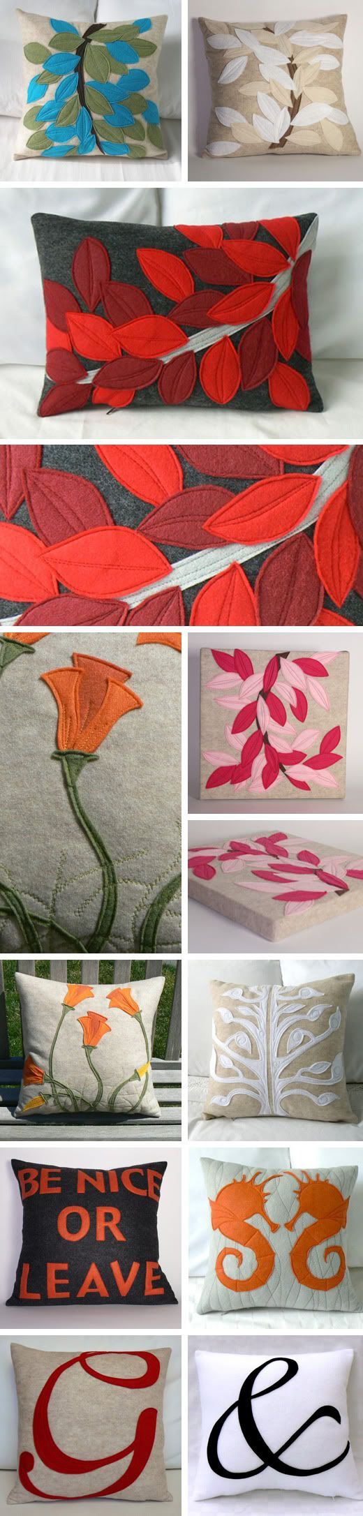 Traditionally Modern Designs: Mother's Day. Felt applique sewn leaf or nature pillows. I must re-create these!