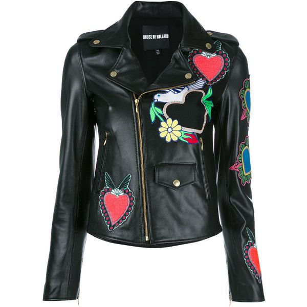 House Of Holland heart patches biker jacket (3.915 BRL) ❤ liked on Polyvore featuring outerwear, jackets, black, motorcycle jacket, patch jacket, rider jacket, moto jackets and house of holland