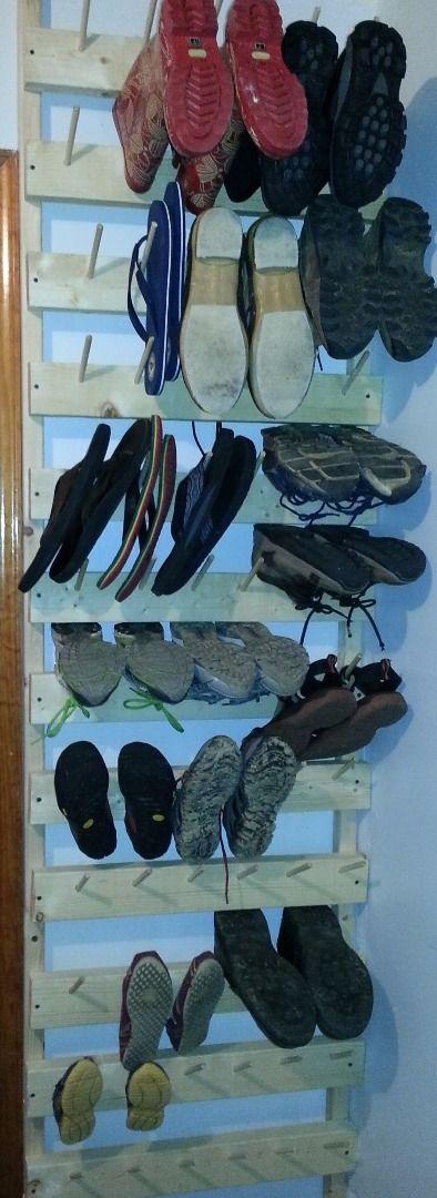 Vertical Shoe Rack- Peg Board Ladder