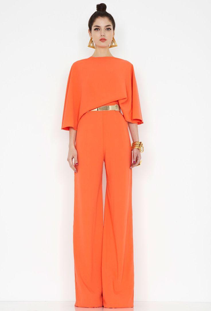 Seiber Orange Backless Jumpsuit