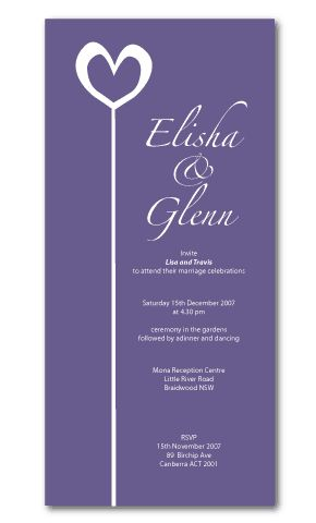 heart wedding invitations purple