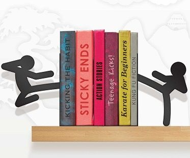 These karate stickmen bookends are fun and functional to use for holding up your favorite books or DVD's! They have been trained to the highest standard of Kung Fu, so should anyone attempt to even lay a finger on your possessions, they'll unleash the power within. HI-YAH!
