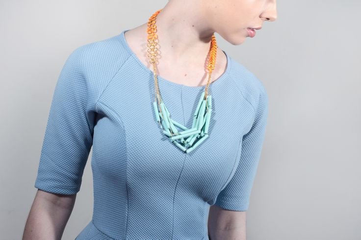 Orange and mint green straws necklace by fashion Jeweller Floris. Jesmonite, rubber. floris.pixpawebsites.com