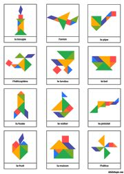 Modèles d'objets pour jeu tangram à imprimer en couleur
