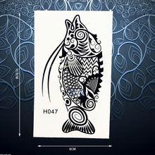 Модные Креативные Временные Татуировки Наклейки Черная Хна Рыба Переводные…