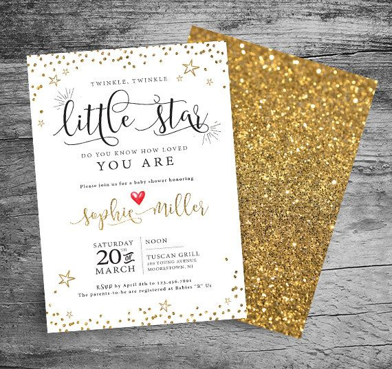 Twinkle, Twinkle Little Star Baby Shower Invitation - Watercolor and Glitter Invitation - Gender Neutral Baby Shower - 5x7 PRINTABLE