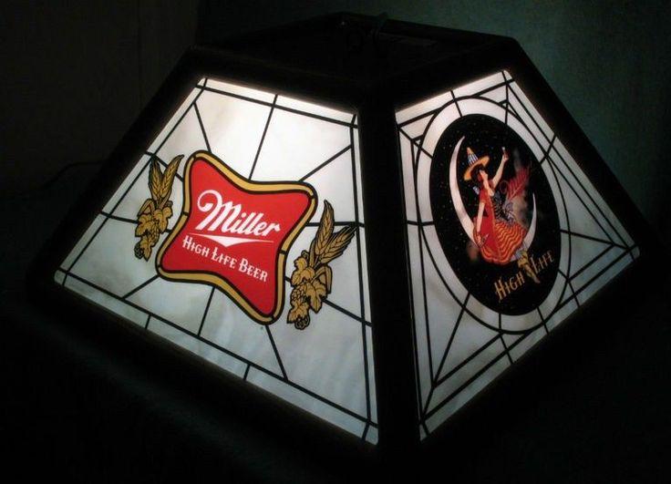 1980s Miller High Life Bar Pool Table Light Beer Sign #bardecor  @LiquorListcom Www.