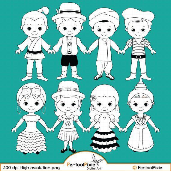 Children Around The World Part 2 Digital Stamp Clipart World Children Digi Stamps Unity Clipart Line Art Coloring Pages Digital Stamps Digi Stamps Clip Art
