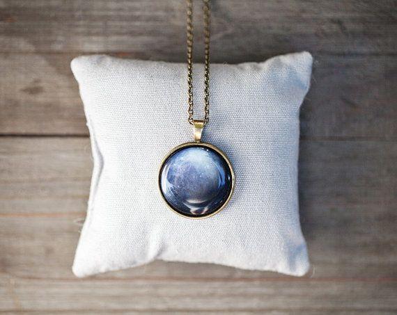 Navy Blue Pluto necklace  Pendant  Autumn jewelry by BeautySpot, $23.00