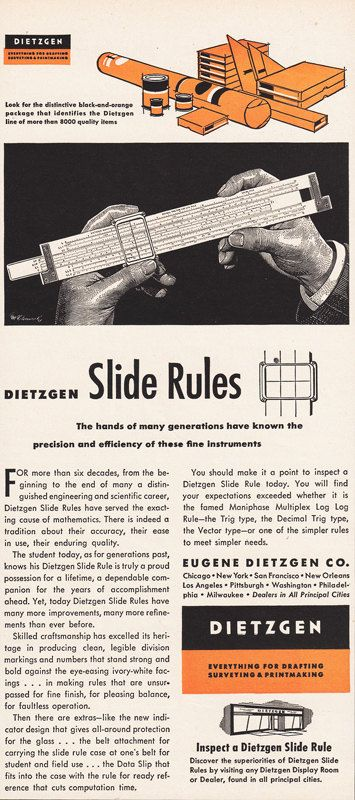1951 SLIDE RULE Print Advertisement DIETZGEN by phorgotten