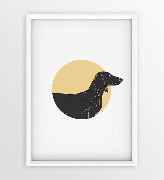 Vintage dachshund Dog Prints Dog Printable Art by seaquintdesign