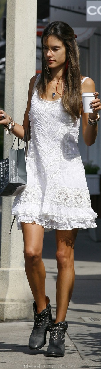 Alessandra Ambrossio. Hippie chic white dress. Studded ankle boots