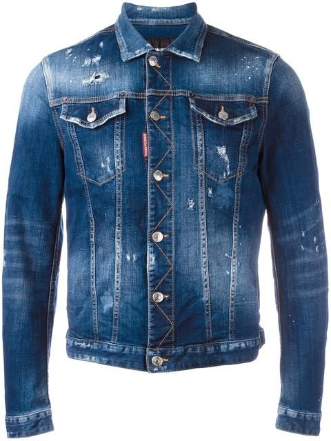 DSQUARED2 distressed jean jacket. #dsquared2 #cloth #jacket