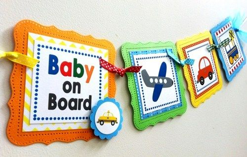 Baby Boy Onboard Transportation Baby Shower Party Banner Decoration