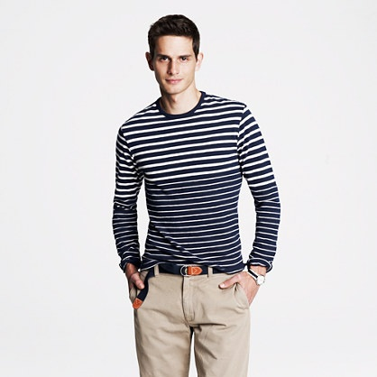 Just picked this up. Almost like a sweater than T - JCrew Long-sleeve heavyweight slub tee in variegated stripe
