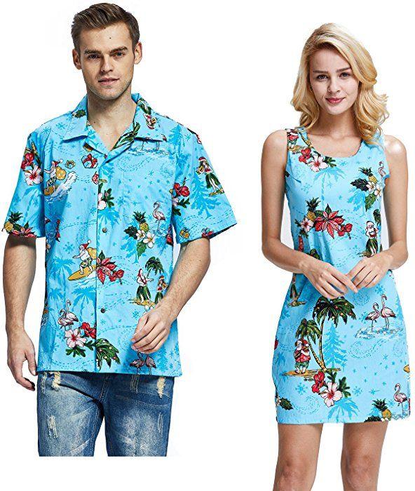 d75b5730a5f7 Couple Matching Hawaiian Luau Cruise Christmas Outfit Shirt Dress Santa  Navy Men M Women M at Amazon Men's Clothing store: