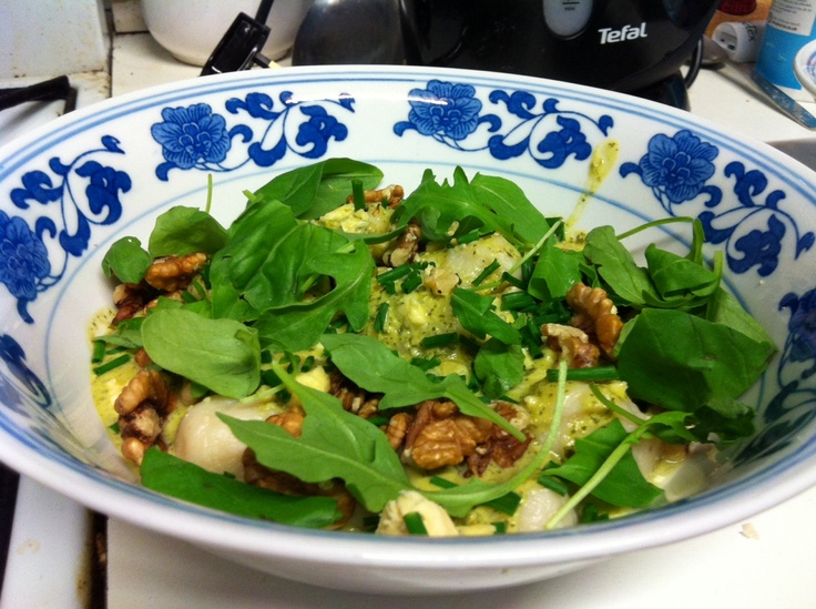 Home made gnocchi with blue cheese, walnuts and rocket and watercress sauce